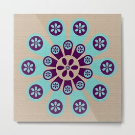 Bloomburst Purple & Blue Floral Design Metal Print