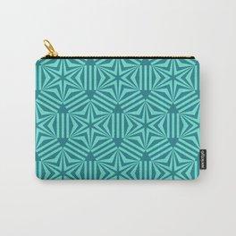 Cyan geometric hexagon stars op art Carry-All Pouch