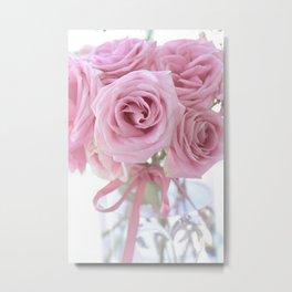 Cottage Pink Pastel Roses Metal Print
