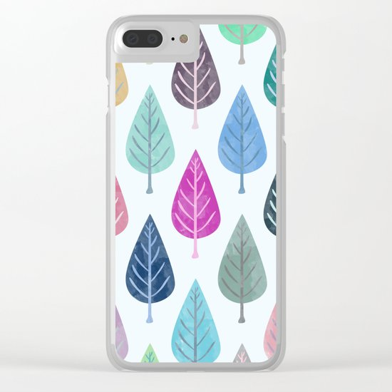 Watercolor Forest Pattern III Clear iPhone Case
