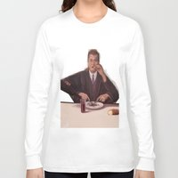 magritte Long Sleeve T-shirts featuring Rene Magritte- self portrait by Dano77