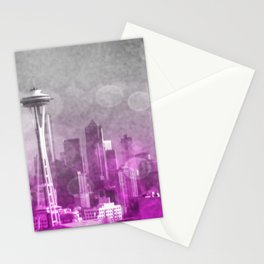 Pink and Grey Bokeh Seattle Skyline Stationery Cards