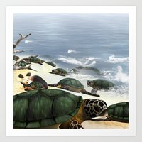 turtles Art Prints featuring Turtles by nicky2342