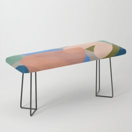 Shapes and Layers no.30 - Large Organic Shapes Blue Pink Green Gray Bench