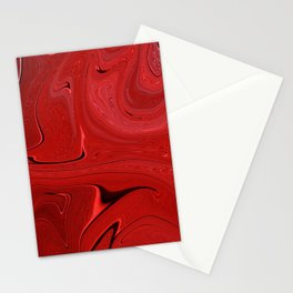 Red Liquid Marble Swirling Pattern Texture Artwork #3 Stationery Cards