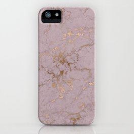 rose gold marble print iPhone Case