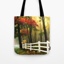 Fall scene with fence Tote Bag