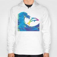 hokusai Hoodies featuring Hokusai Rainbow & dolphin_C by FACTORIE