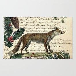 western country fairy rustic woodland nursery winter pine forest animal fox Rug