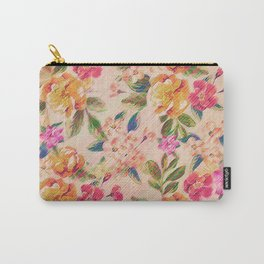 Golden Flitch (Digital Vintage Retro / Glitched Pastel Flowers - Floral design pattern) Carry-All Pouch