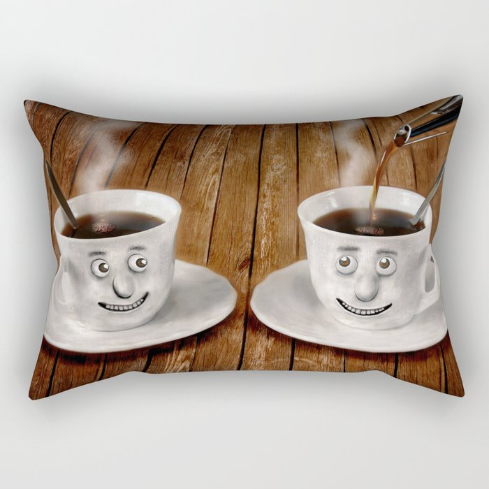 Hot Coffee Time in the Kitchen Rectangular Pillow