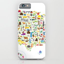 Animal Map of United States for children and kids iPhone Case