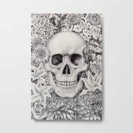 Skull and Flowers Vanitas Metal Print