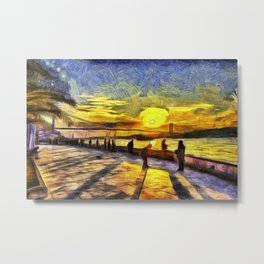 Sunset Fishing Istanbul Van Gogh Metal Print