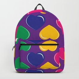 pattern with colorful hearts on purple background Backpack