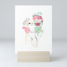 Llama & Florals Mini Art Print