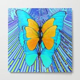 CONTEMPORARY BLUE & YELLOW BUTTERFLIES GRAPHIC ART Metal Print