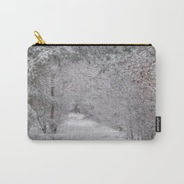 St Bernard dog in the snowy woods Carry-All Pouch