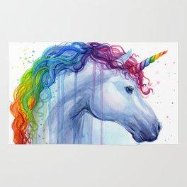 Rainbow Unicorn Colorful Watercolor Animal Rug