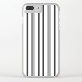 Mattress Ticking Wide Striped Pattern in Dark Black and White Clear iPhone Case