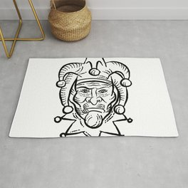 Harlequin Etching Black and White Rug