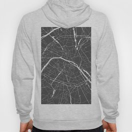 Paris France Minimal Street Map - Grey on White Hoody