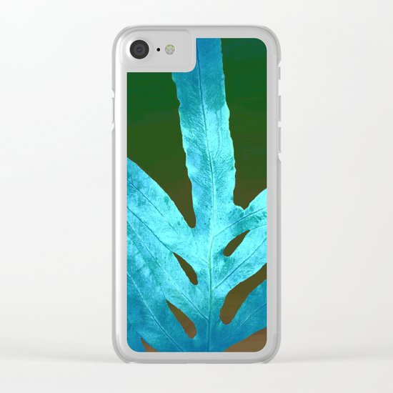 Autumn Leaves Blue and Cold Fall to the Ground Clear iPhone Case