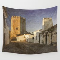 portugal Wall Tapestries featuring Monsaraz Castle, Portugal  by Michael Howard