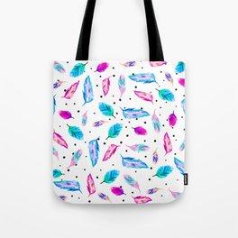 Boho watercolor pastel feathers polka dots Tote Bag