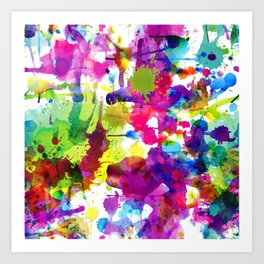 Brightly Colored Paint Splatters Art Print