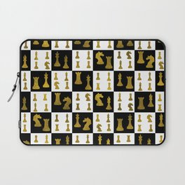 Chessboard and Gold Chess Pieces pattern Laptop Sleeve