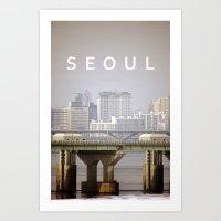 seoul Art Prints featuring SEOUL by Sara Ahlgren