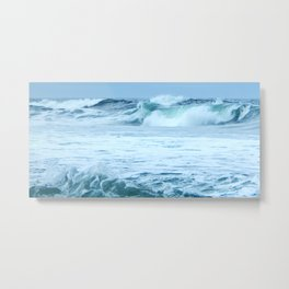 Rolling Green Surf Metal Print