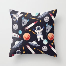 Adventures In Space Throw Pillow