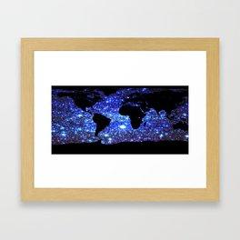 world Map Blue Swirl Galaxy Sparkle Framed Art Print