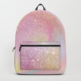 Modern Rainbow glitter ombre sparkles pastel holographic marble pattern Backpack