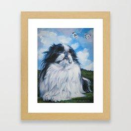 Japanese Chin dog art from an original painting by L.A.Shepard Framed Art Print