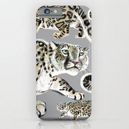 Snow leopard in grey iPhone Case
