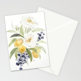 Watercolor Flowers with Blueberries Stationery Cards