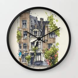 Residential house along Amsterdam canals Wall Clock