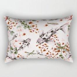 Asian fish among flowers Rectangular Pillow