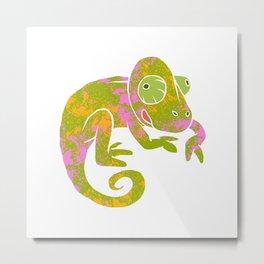 psychedelic chameleon Metal Print