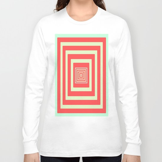 Coral and Light Blue Long Sleeve T-shirt