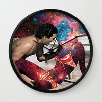 eugenia loli Wall Clocks featuring Kundalini by Eugenia Loli