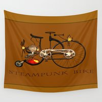 steampunk Wall Tapestries featuring Steampunk bike by valzart