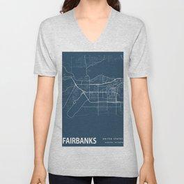 Fairbanks Blueprint Street Map, Fairbanks Colour Map Prints Unisex V-Neck