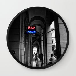 Bar Tabacchi in Bologna Black and White Color Splash Photography Wall Clock
