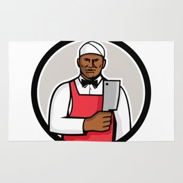 African American Butcher Circle Mascot Rug