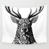 bioworkz Wall Tapestries featuring Ornate Buck by BIOWORKZ