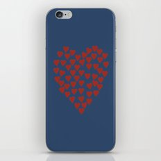 Hearts Heart Red on Navy iPhone & iPod Skin